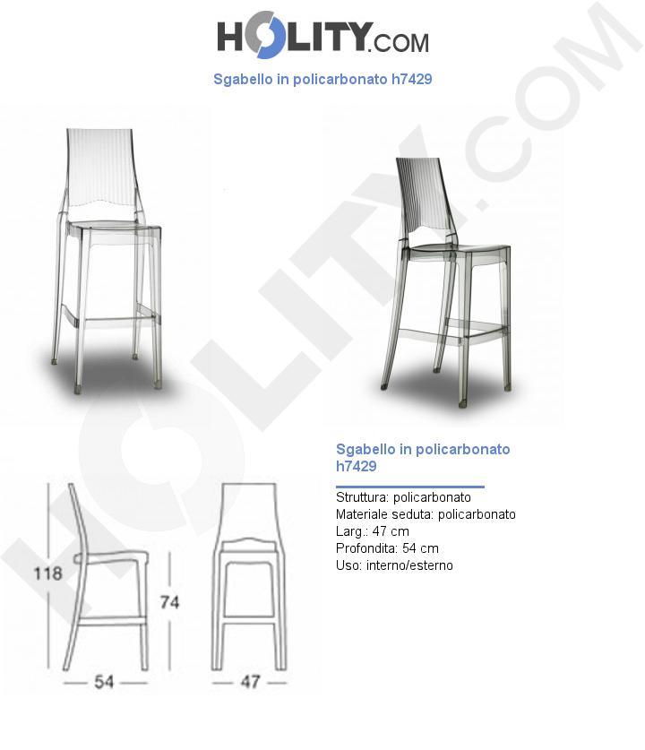 Sgabello in policarbonato h7429