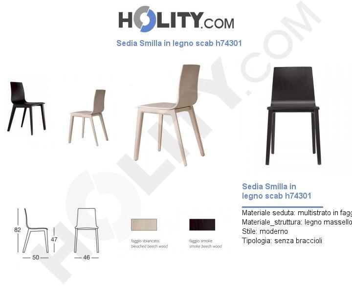 Sedia Smilla in legno scab h74301