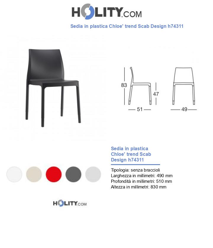 Sedia in plastica Chloe' trend Scab Design h74311