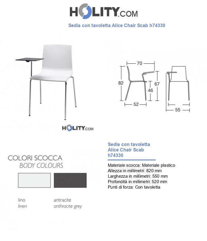 Sedia con tavoletta Alice Chair Scab h74330
