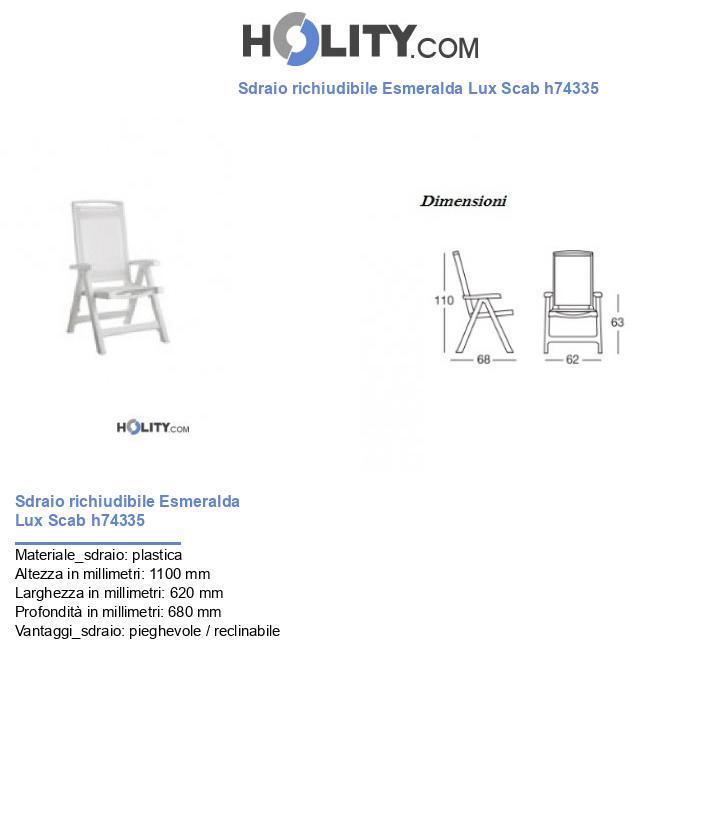 Sdraio richiudibile Esmeralda Lux Scab h74335