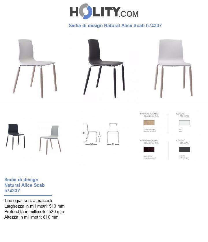 Sedia di design Natural Alice Scab h74337
