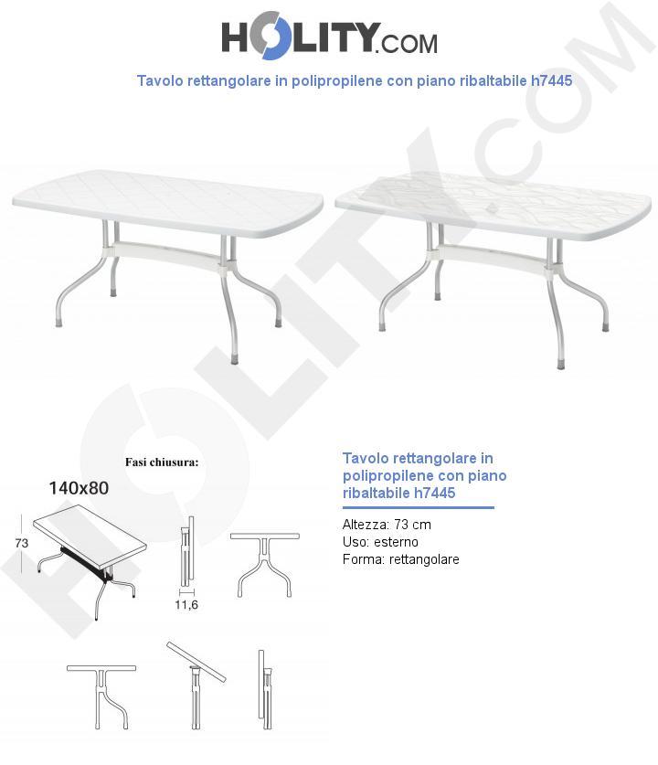 Tavolo rettangolare in polipropilene con piano ribaltabile h7445