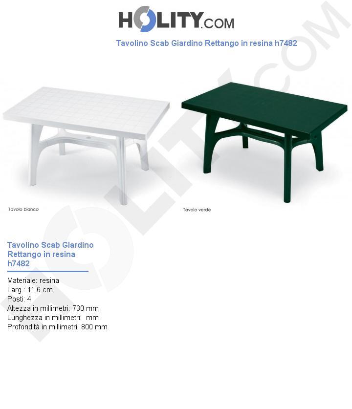 Tavolino Scab Giardino Rettango in resina h7482