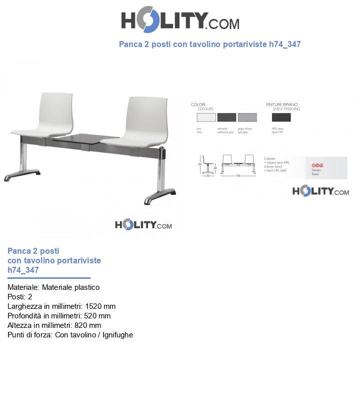Panca 2 posti con tavolino portariviste h74_347