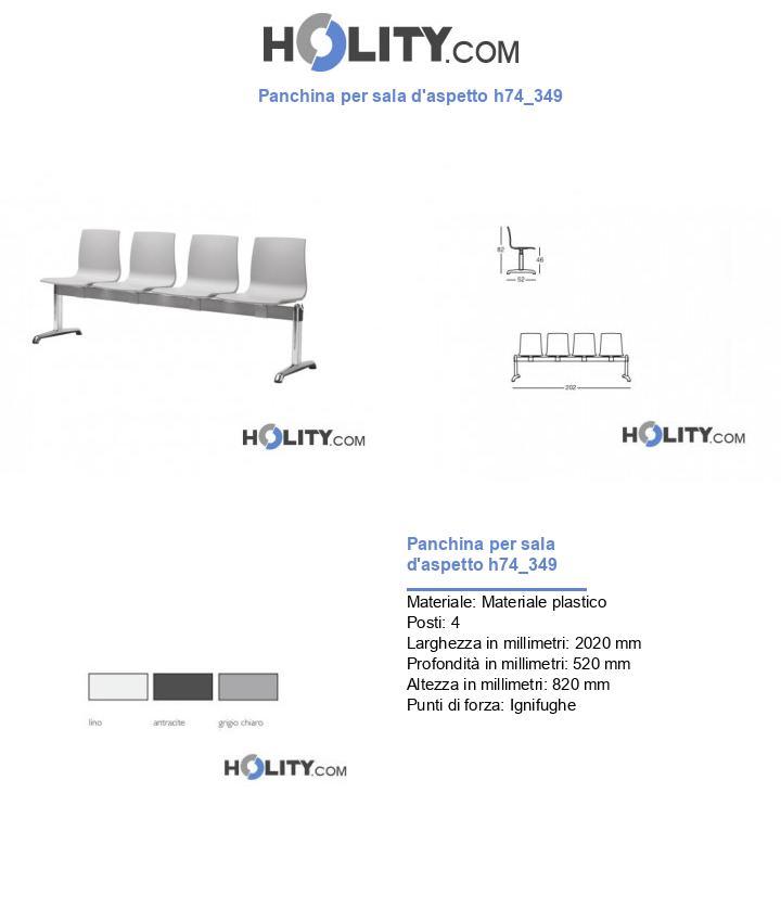 Panchina per sala d'aspetto h74_349