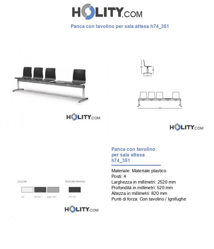 Panca con tavolino per sala attesa h74_351