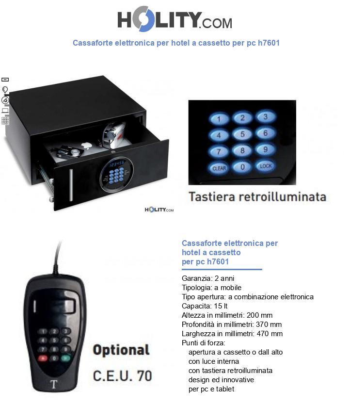 Cassaforte elettronica per hotel a cassetto per pc h7601