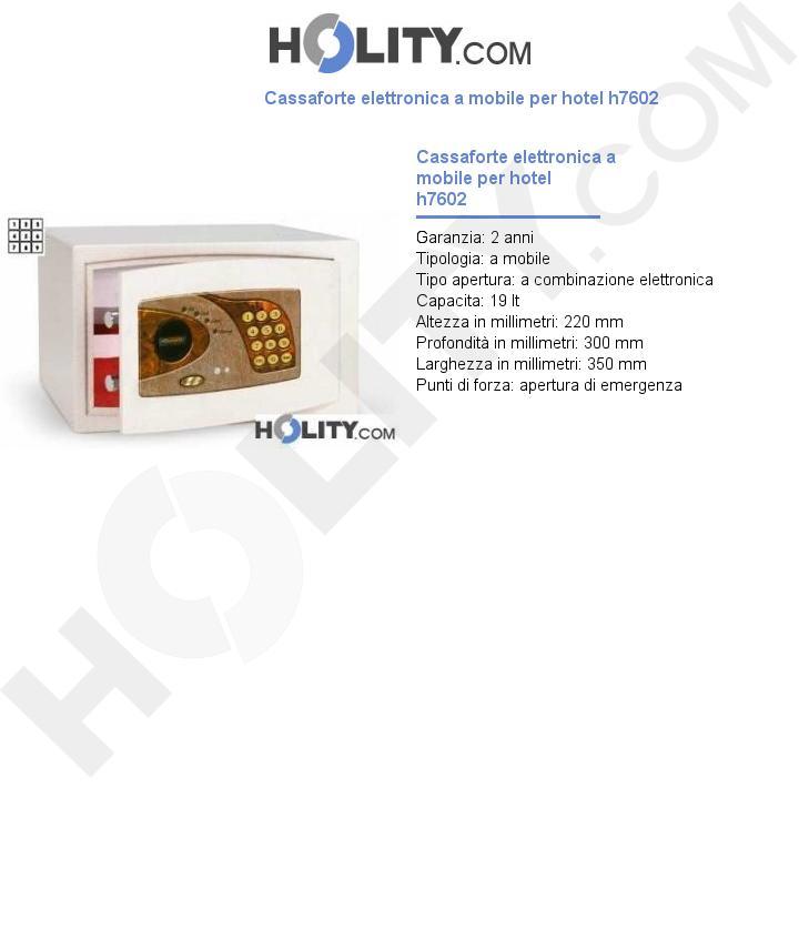 Cassaforte elettronica a mobile per hotel h7602