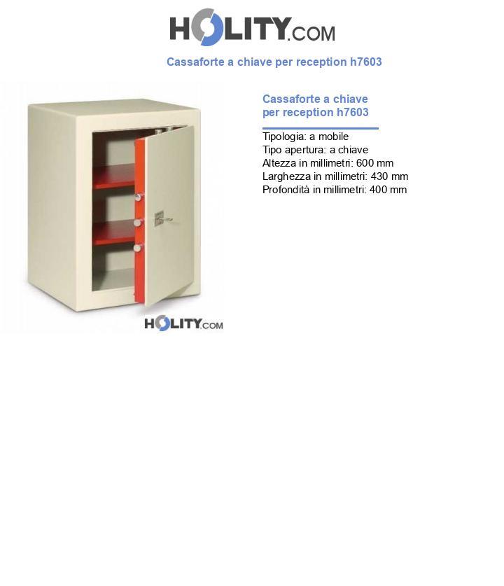 Cassaforte a chiave per reception h7603