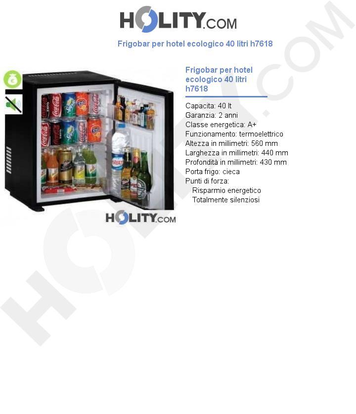 Frigobar per hotel ecologico 40 litri h7618