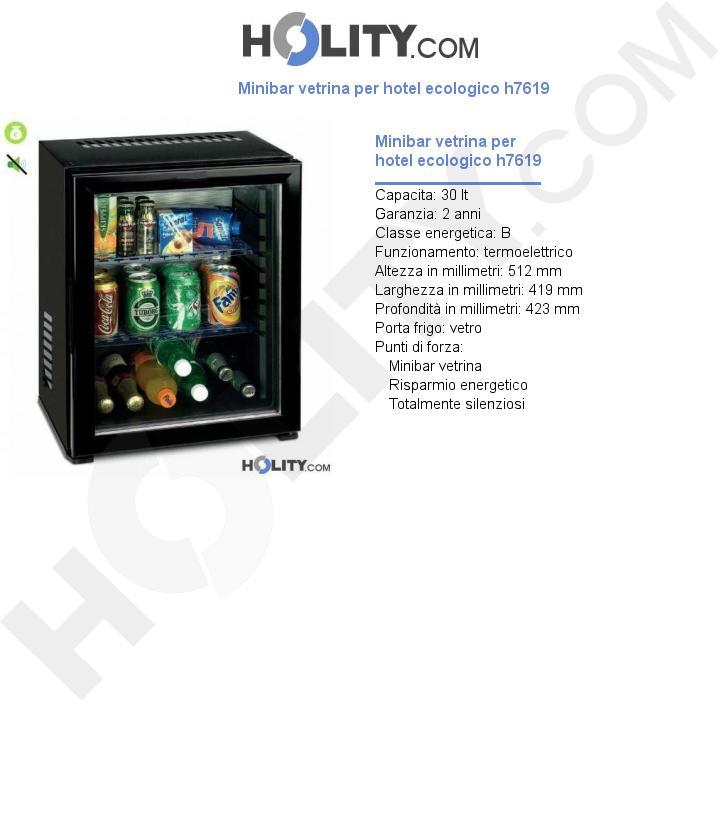 Minibar vetrina per hotel ecologico h7619