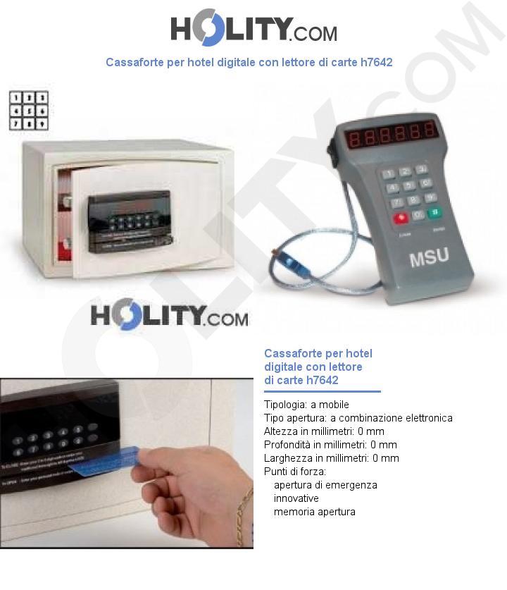 Cassaforte per hotel digitale con lettore di carte h7642