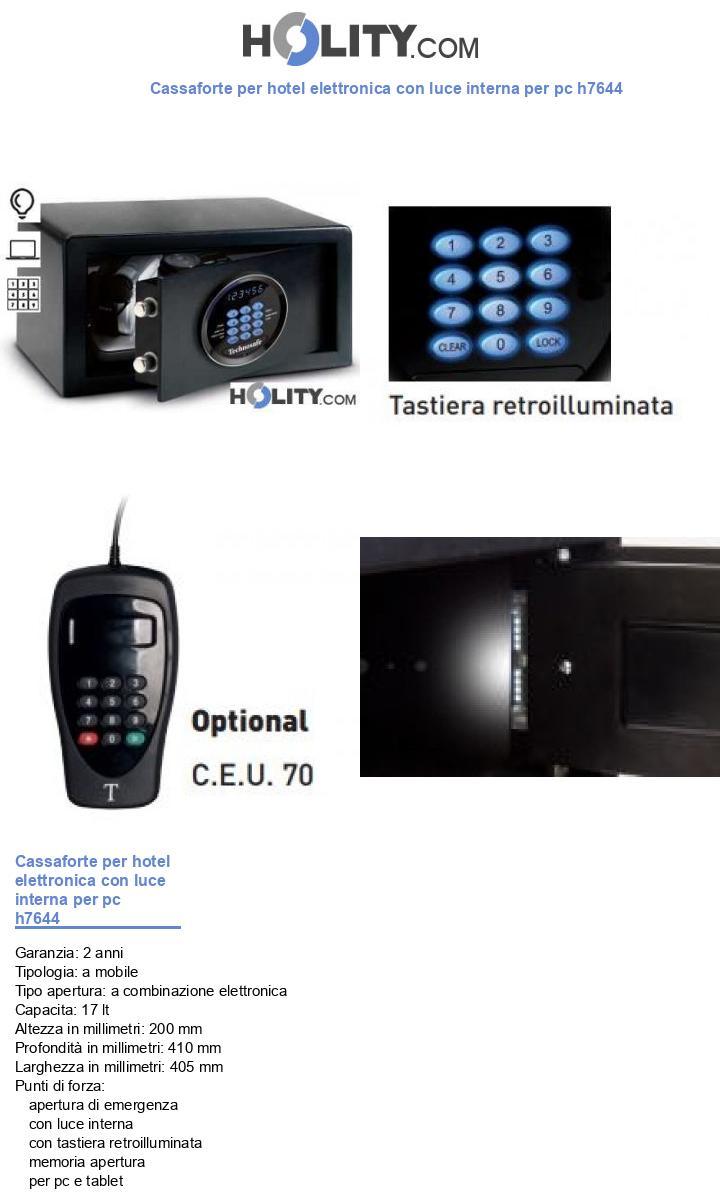 Cassaforte per hotel elettronica con luce interna per pc h7644