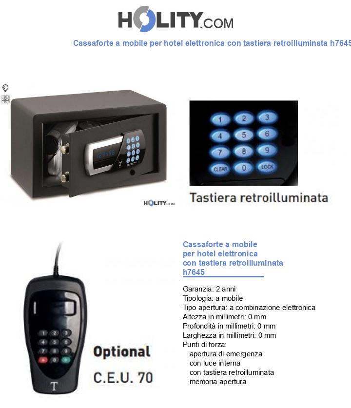 Cassaforte a mobile per hotel elettronica con tastiera retroilluminata h7645 - Fissare cassaforte a mobile ...