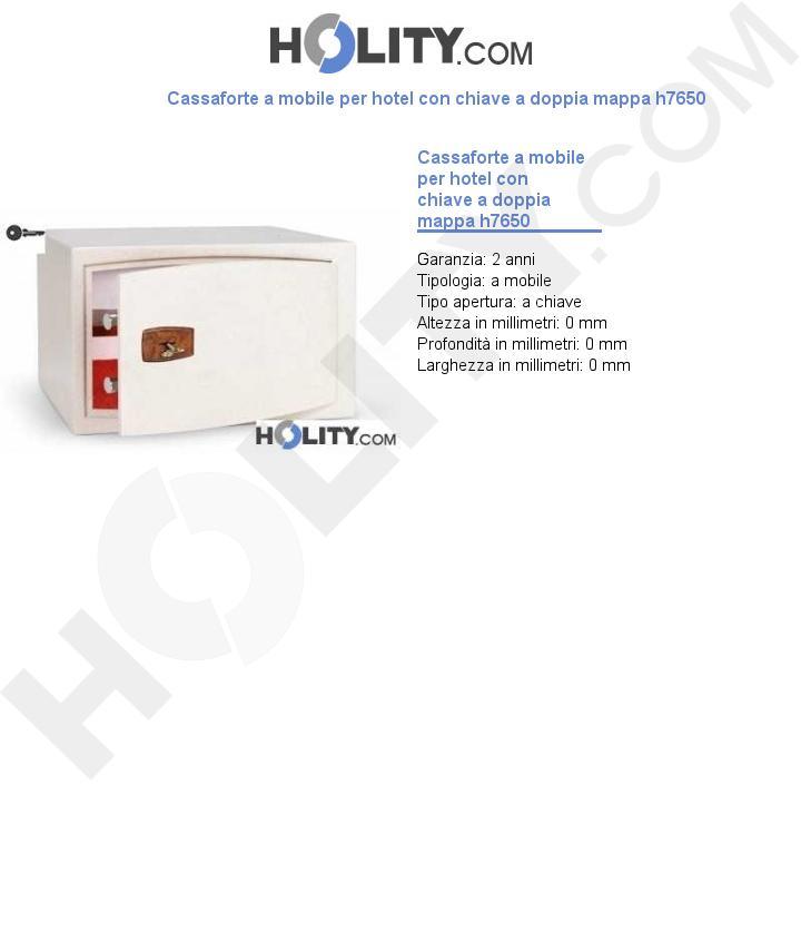 Cassaforte a mobile per hotel con chiave a doppia mappa h7650