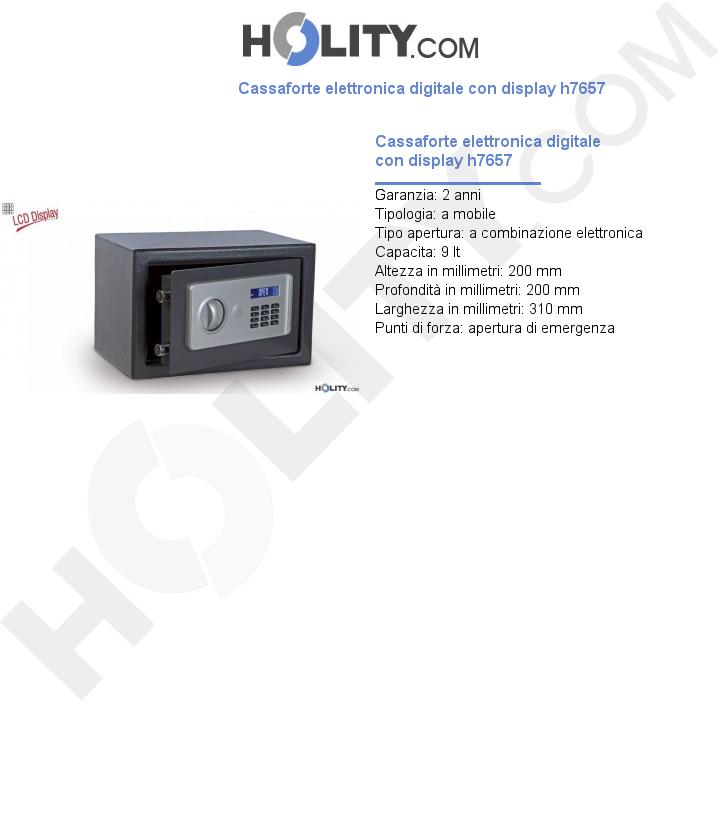 Cassaforte elettronica digitale con display h7657