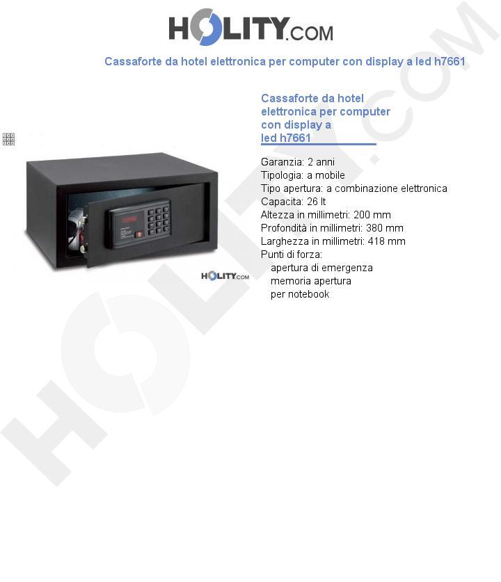 Cassaforte da hotel elettronica per computer con display a led h7661
