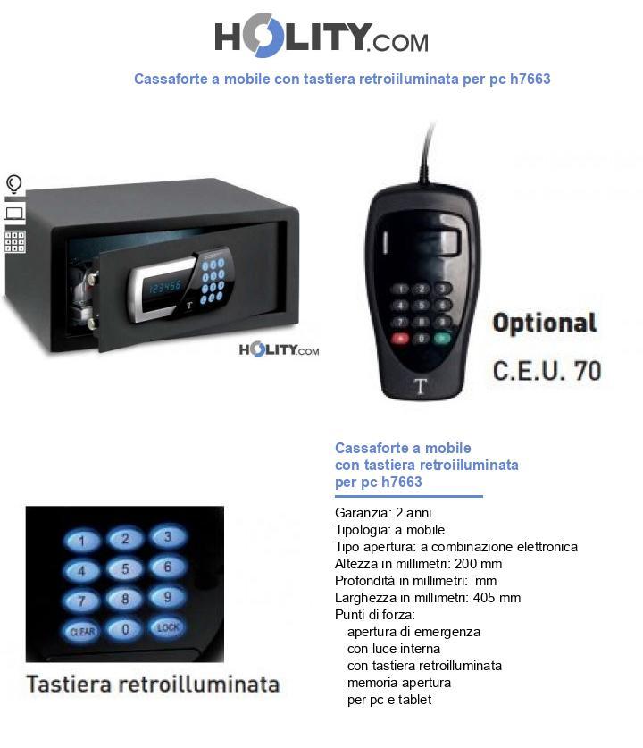 Cassaforte a mobile con tastiera retroiiluminata per pc h7663