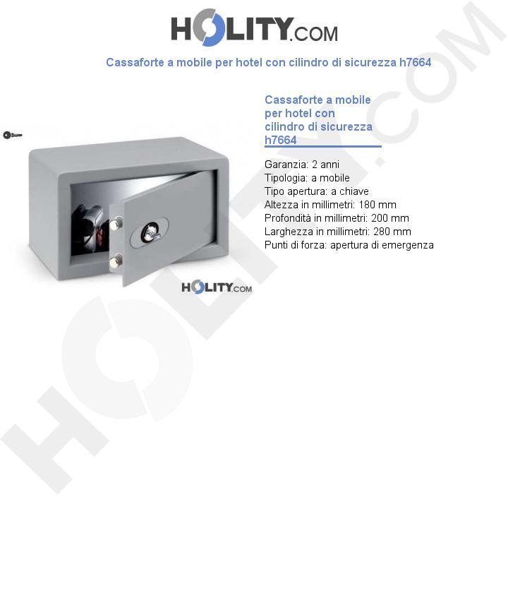 Cassaforte a mobile per hotel con cilindro di sicurezza h7664
