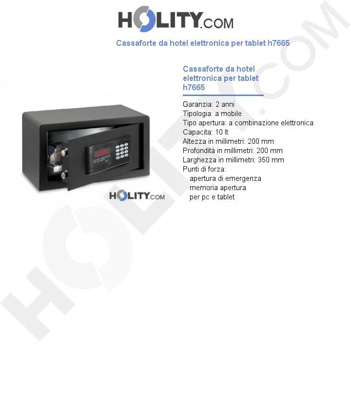Cassaforte da hotel elettronica per tablet h7665