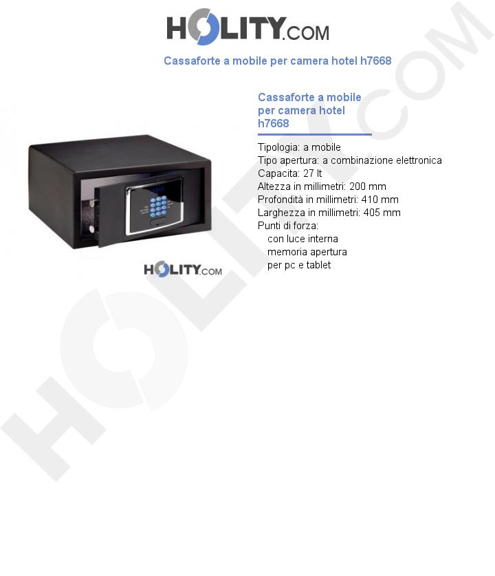 Cassaforte a mobile per camera hotel h7668