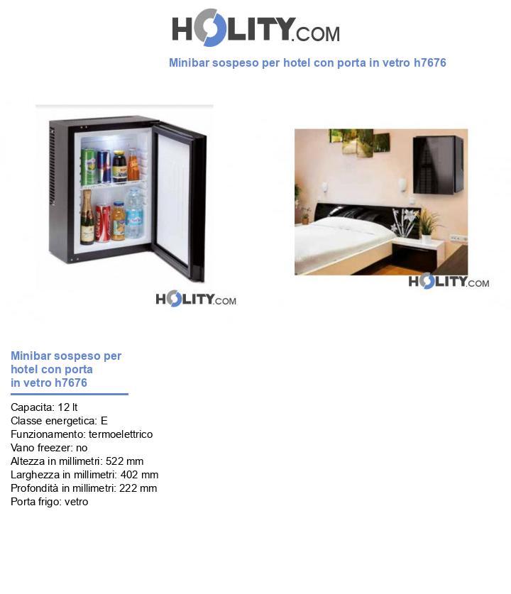 Minibar sospeso per hotel con porta in vetro h7676