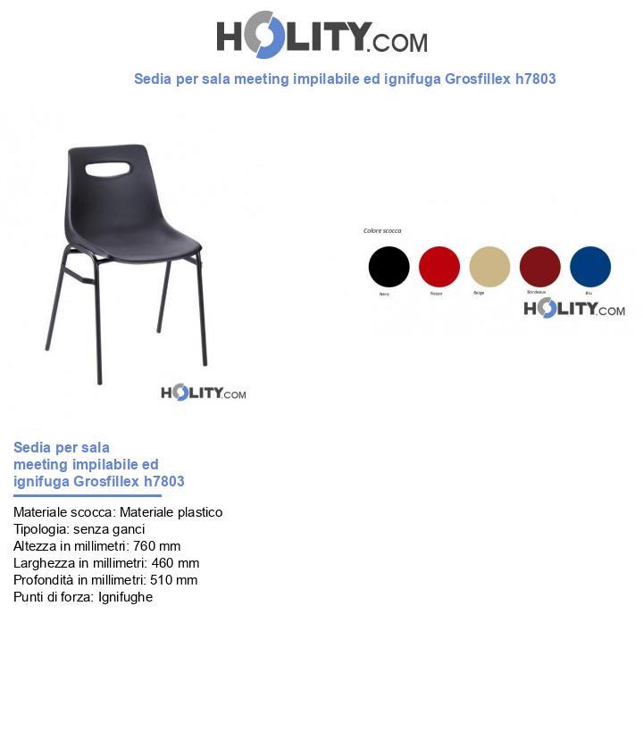Sedia per sala meeting impilabile ed ignifuga Grosfillex h7803