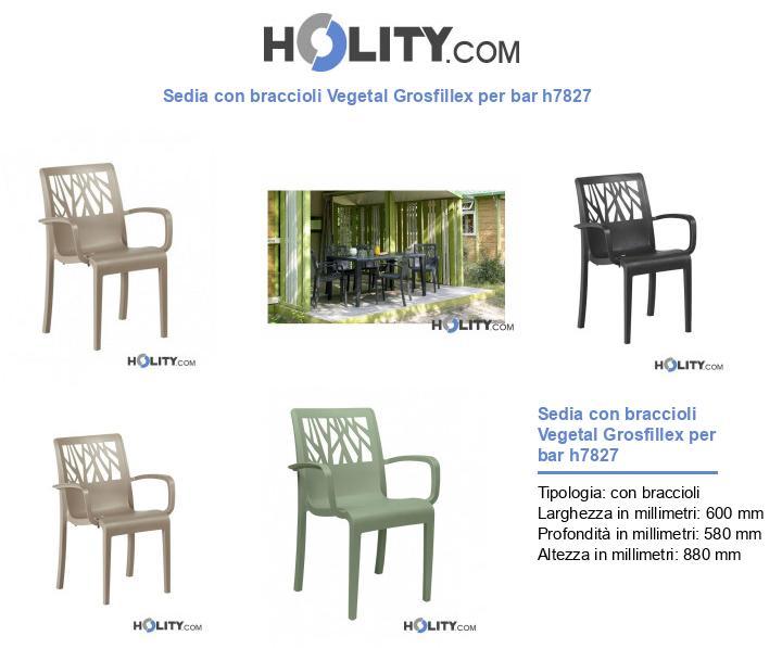 Sedia con braccioli Vegetal Grosfillex per bar h7827