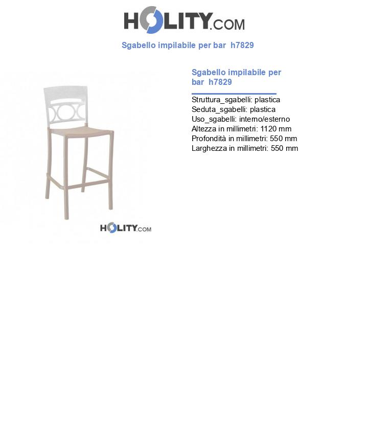 Sgabello impilabile per bar  h7829