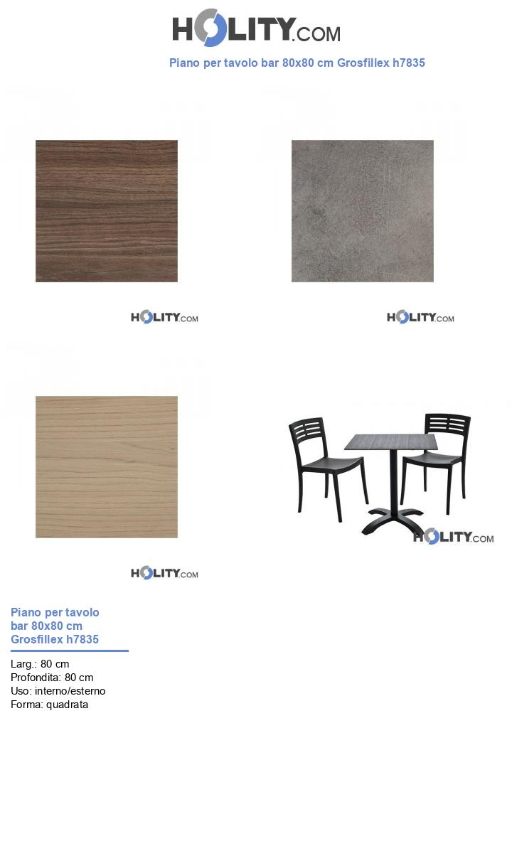 Piano per tavolo bar 80x80 cm Grosfillex h7835