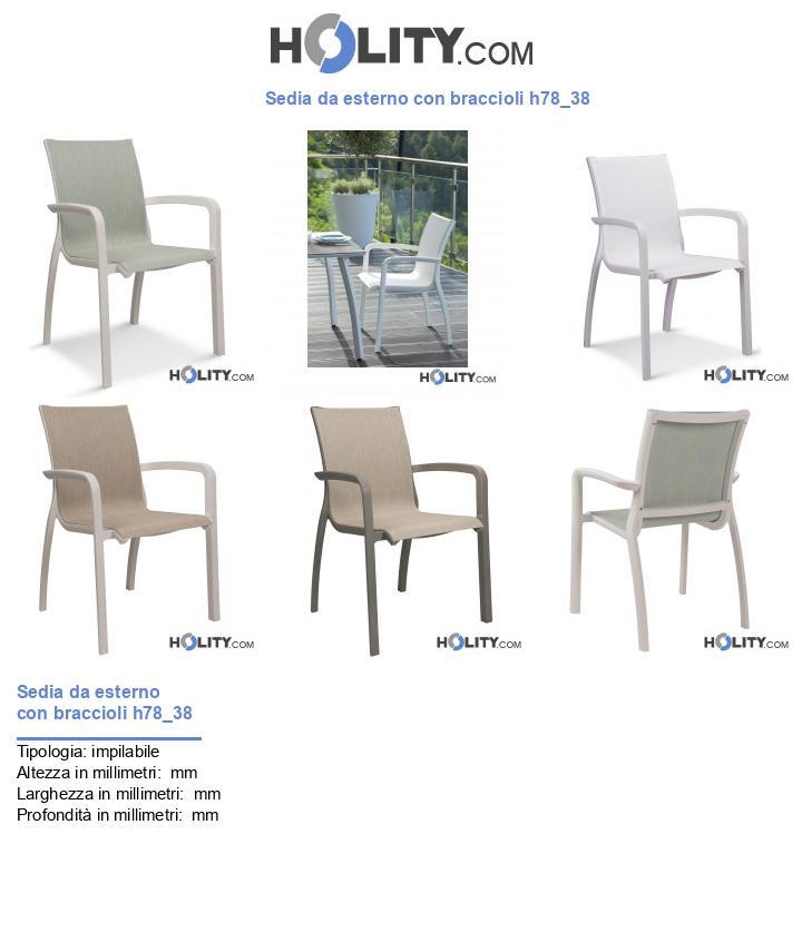 Sedia con seduta in tela da esterno h78_38