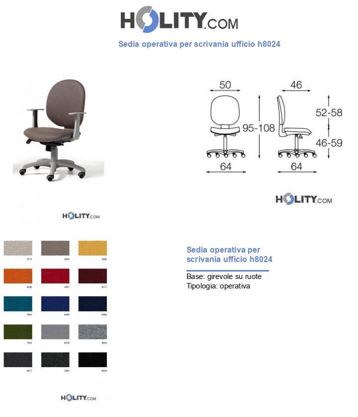Sedia operativa per scrivania ufficio h8024