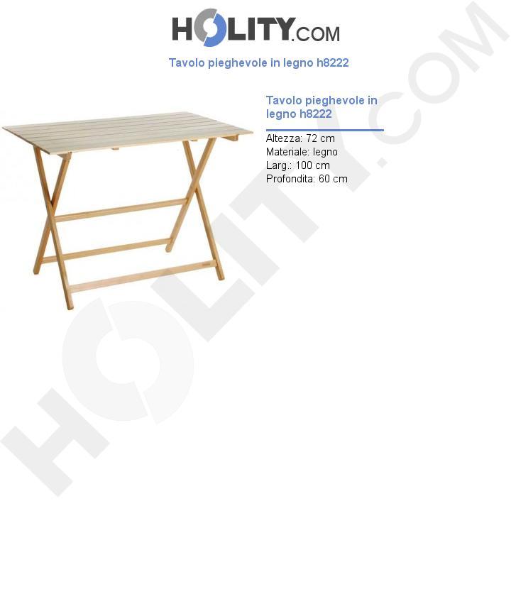 Tavolo pieghevole in legno h8222