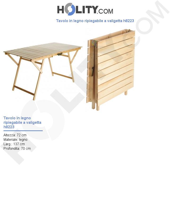 Tavolo in legno ripiegabile a valigetta h8223