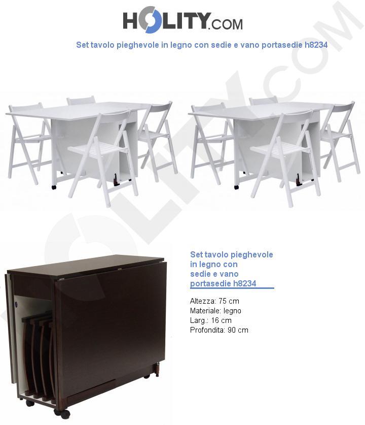 Set tavolo pieghevole in legno con sedie e vano portasedie h8234