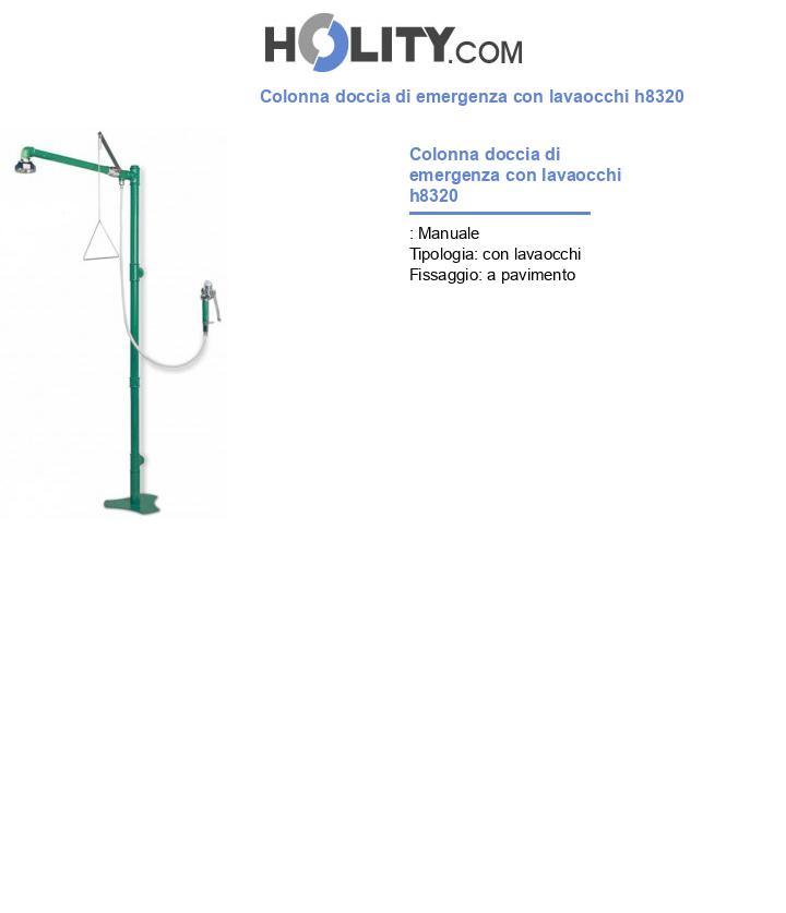 Colonna doccia di emergenza con lavaocchi h8320