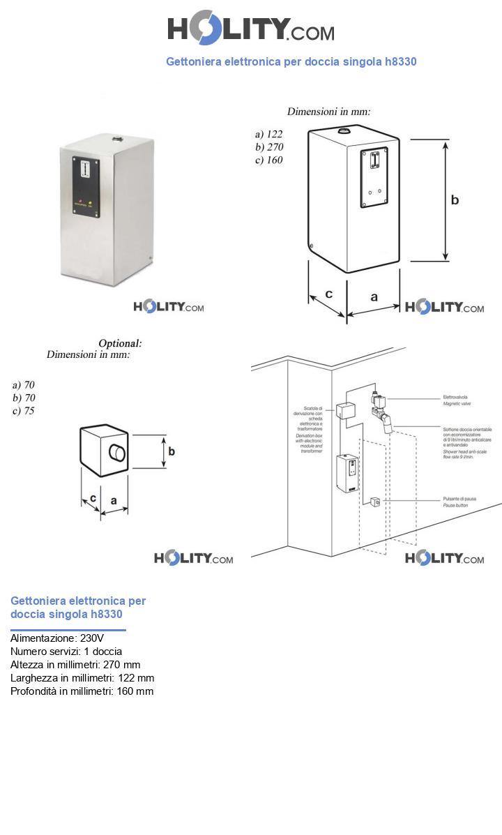 Gettoniera elettronica per doccia singola h8330