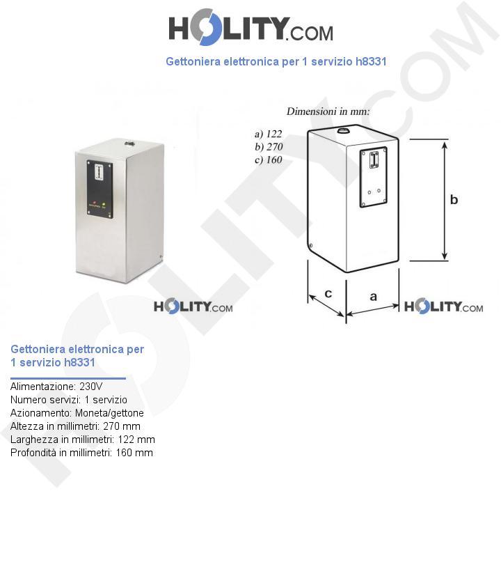 Gettoniera elettronica per 1 servizio h8331