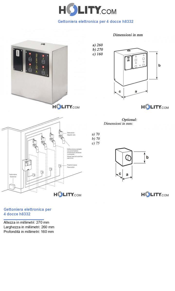 Gettoniera elettronica per 4 docce h8332