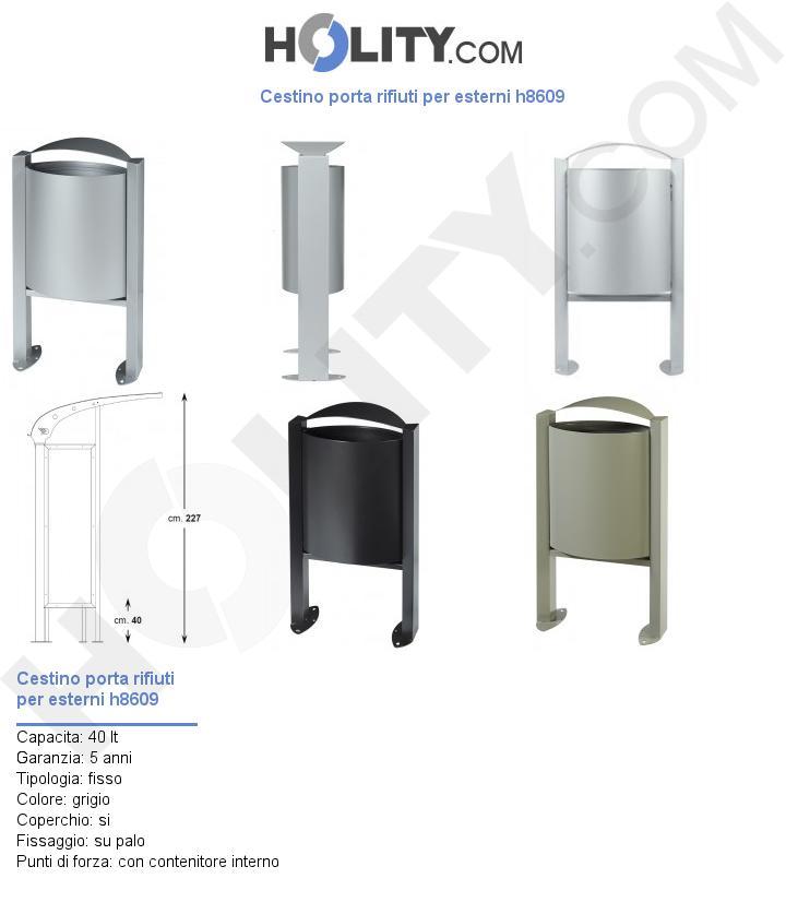 Cestino porta rifiuti per esterni h8609