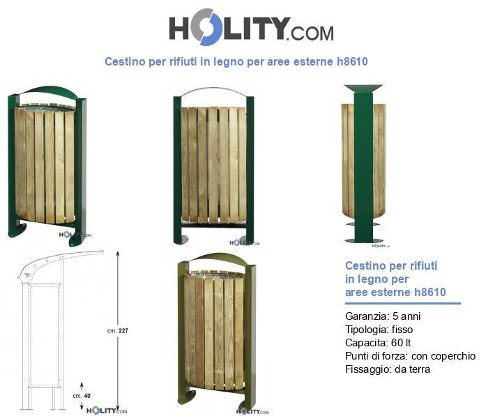 Cestino per rifiuti in legno per aree esterne h8610