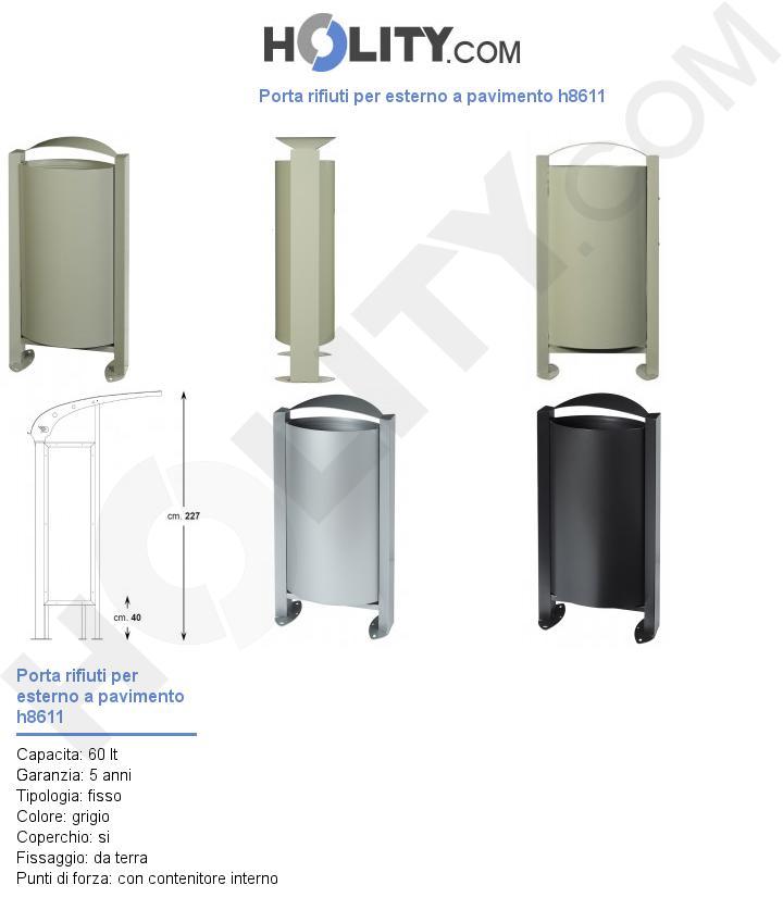 Porta rifiuti per esterno a pavimento h8611