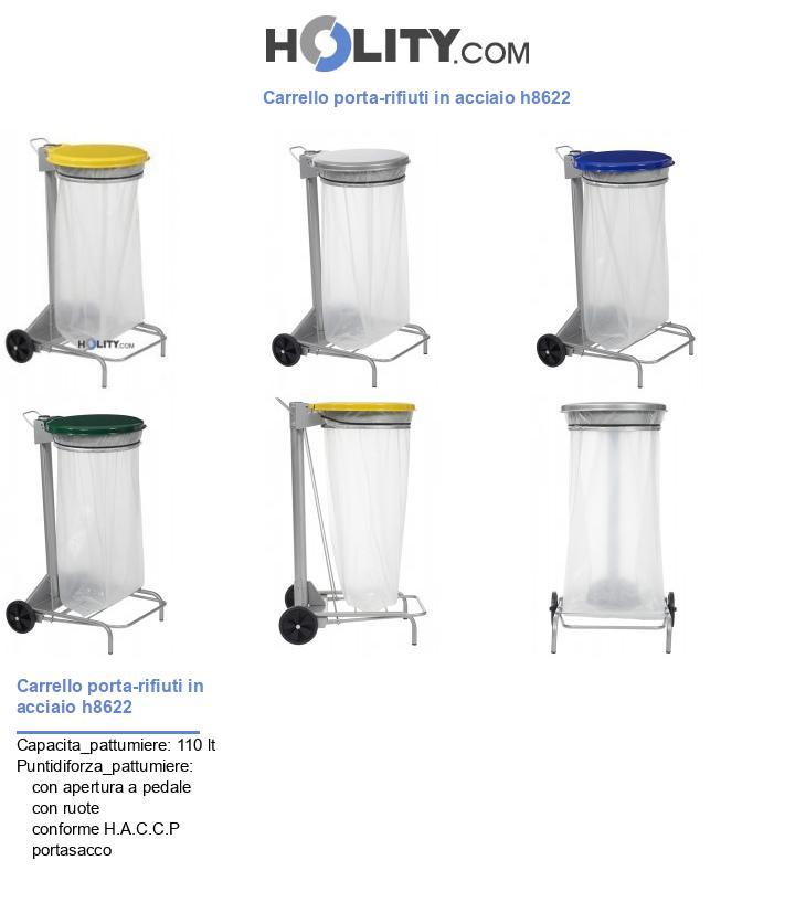 Carrello porta-rifiuti in acciaio h8622