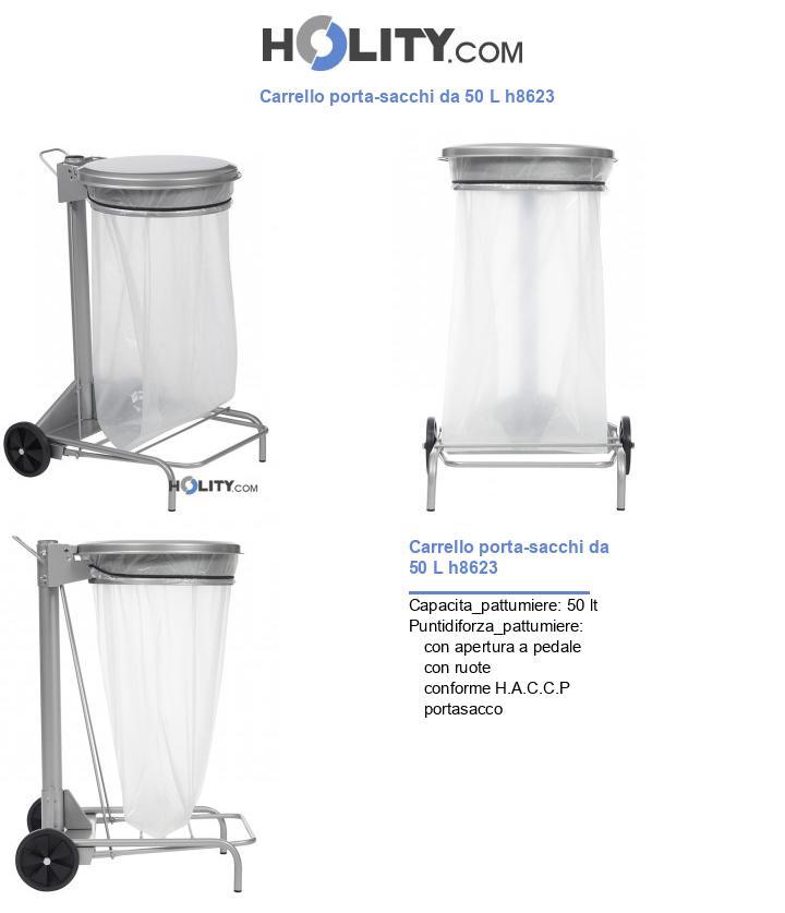 Carrello porta-sacchi da 50 L h8623