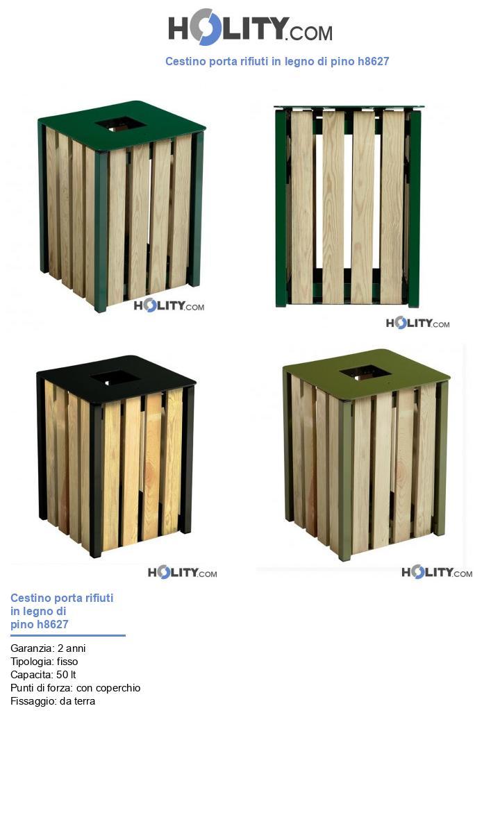 Cestino porta rifiuti in legno di pino h8627
