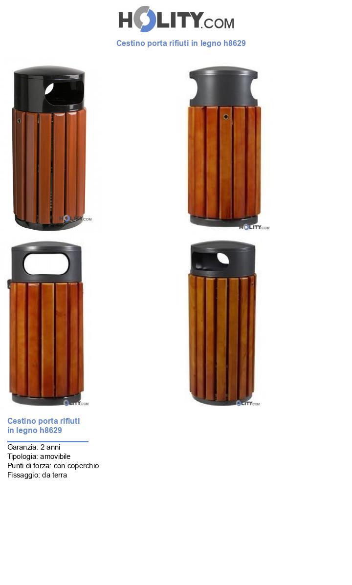 Cestino porta rifiuti in legno h8629