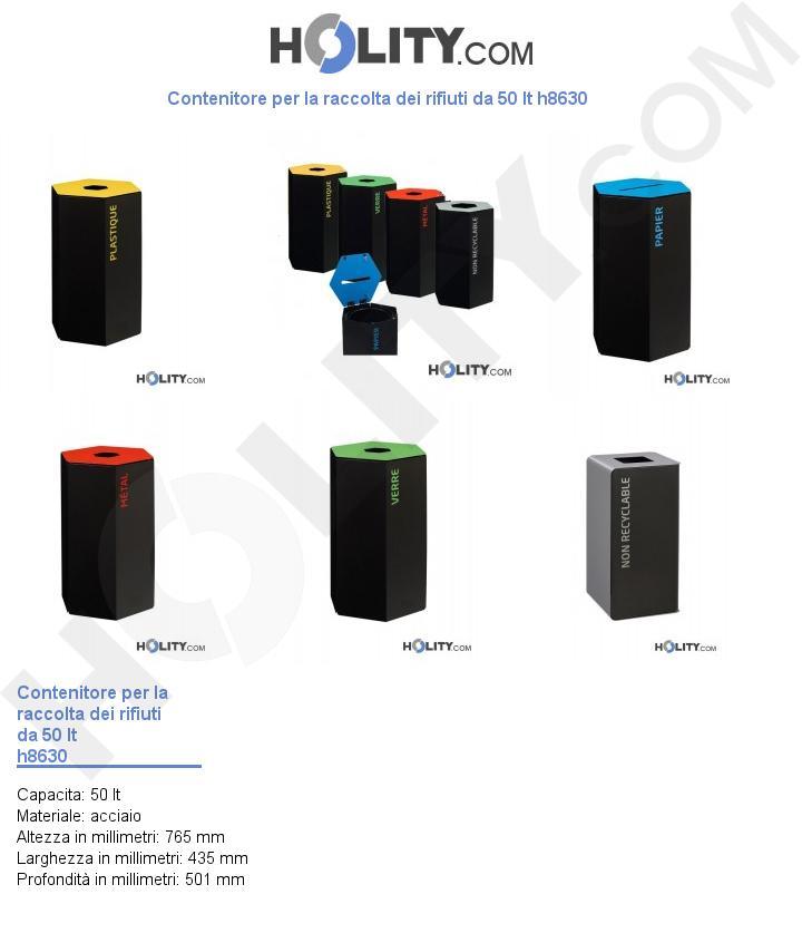 Contenitore per la raccolta dei rifiuti da 50 lt h8630