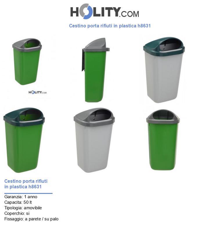 Cestino porta rifiuti in plastica h8631
