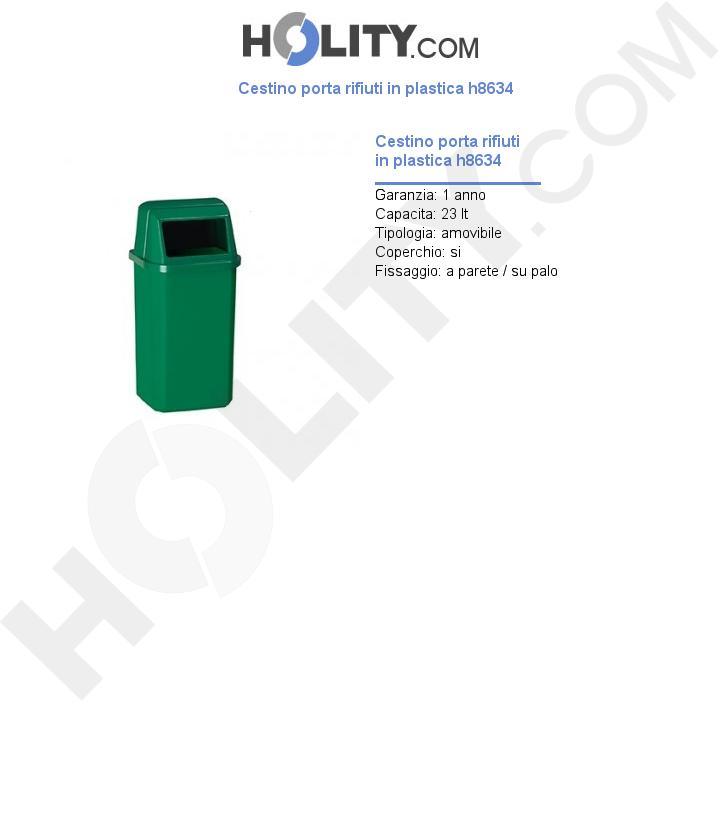 Cestino porta rifiuti in plastica h8634